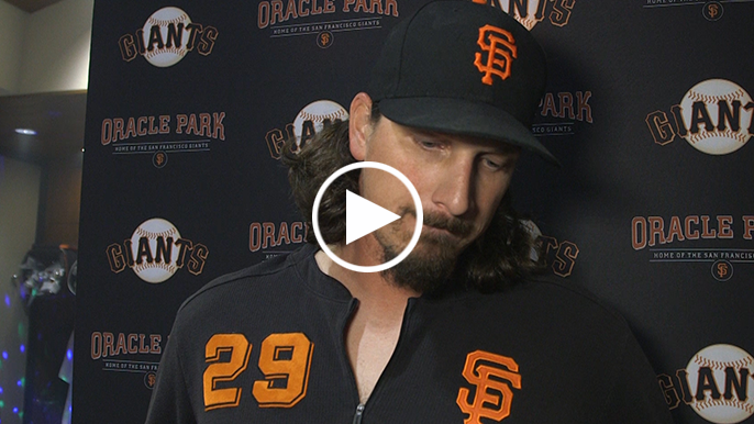 Samardzija reacts to being pulled after five shutout innings