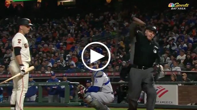 Bruce Bochy ejected from dugout after arguing low strike call