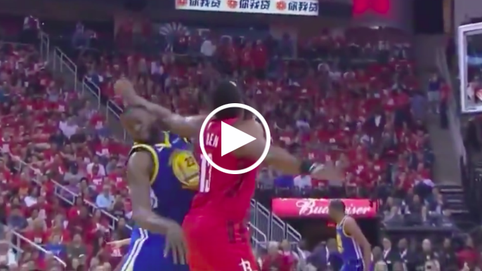 Draymond reacts to being elbowed by Harden on 3-pointer