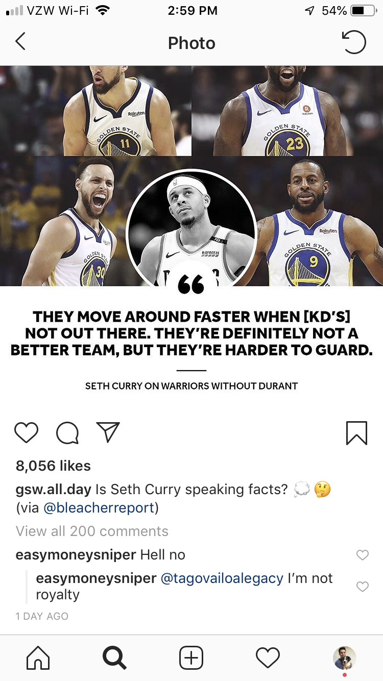 d5d6d48d1d91 Kevin Durant disagrees with Seth Curry s claim that Warriors are ...