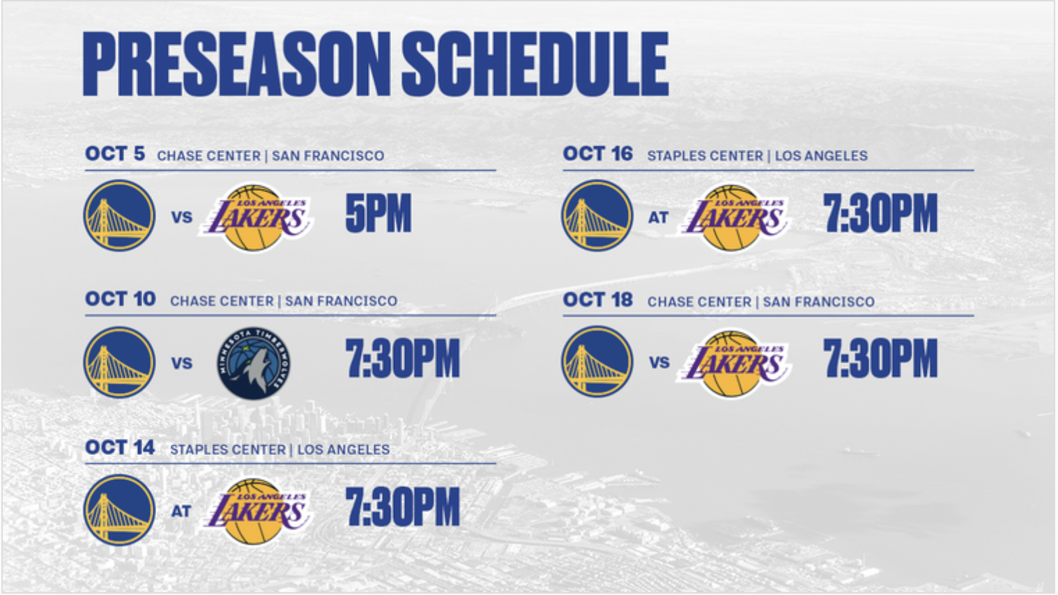 GSW 2019-20 NBA Preseason Schedule and Fixtures
