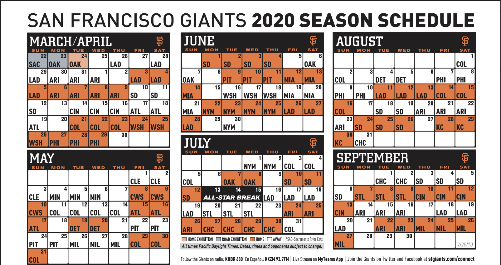 photo about Sf Giants Printable Schedule known as Giants announce tentative 2020 month to month period routine KNBR-AF