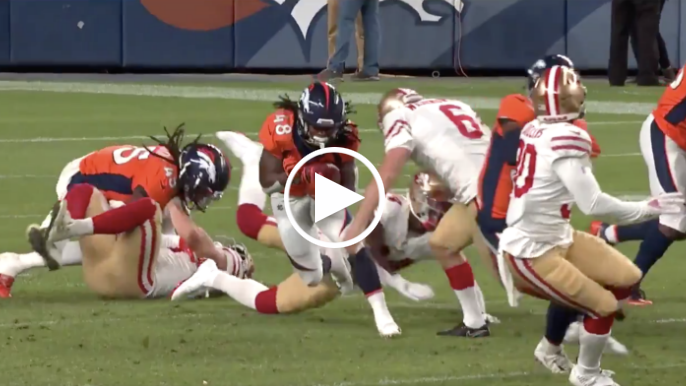 49ers' rookie punter lays big hit on Broncos returner