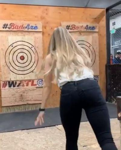 Axe throwing nearly takes unexpected turn