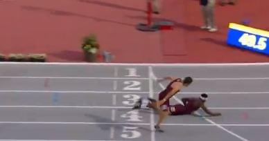 College Runner Dives Across the Finish Line to Win