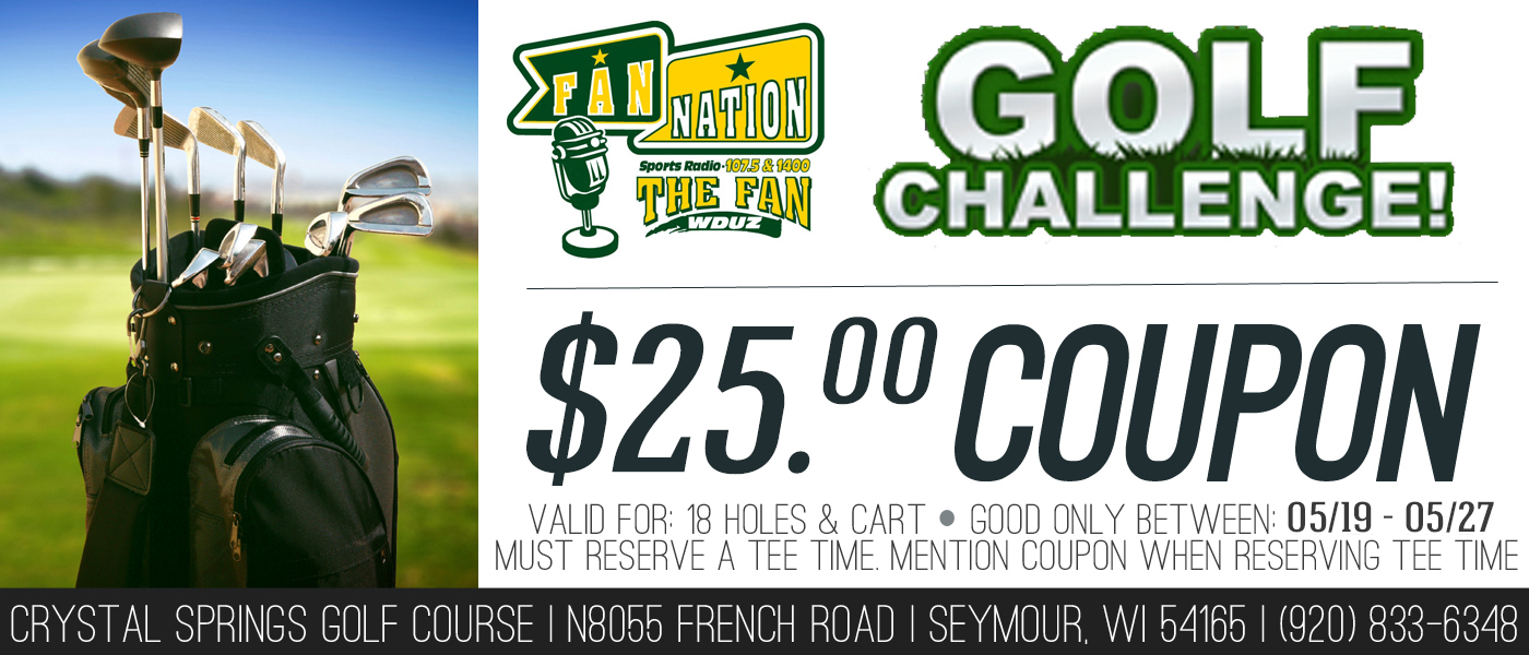 The Fan Challenge!  Get 18 with a cart for only $25 at Crystal Springs!