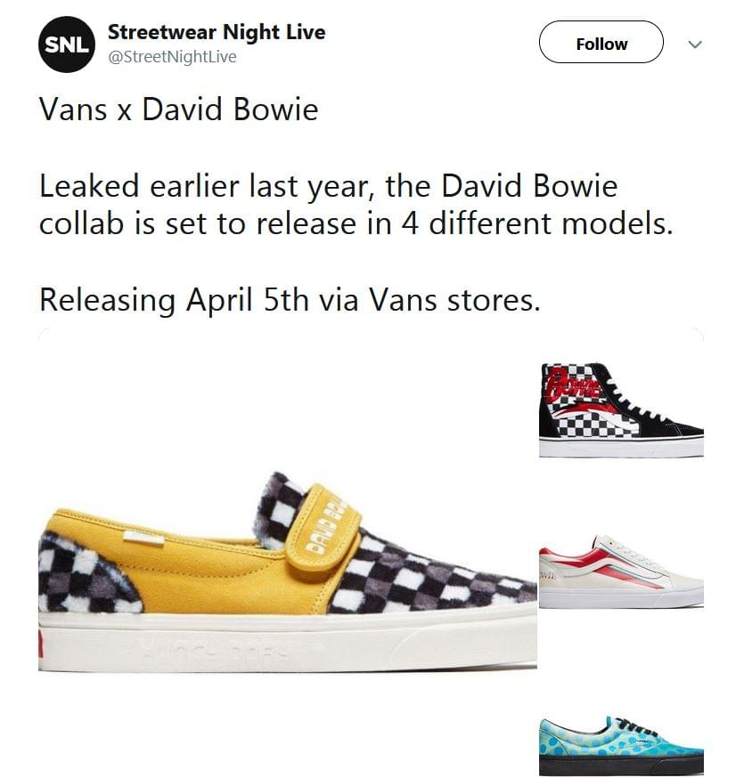 fdf80b1a38 Vans announced a limited-edition line of sneakers inspired by David Bowie