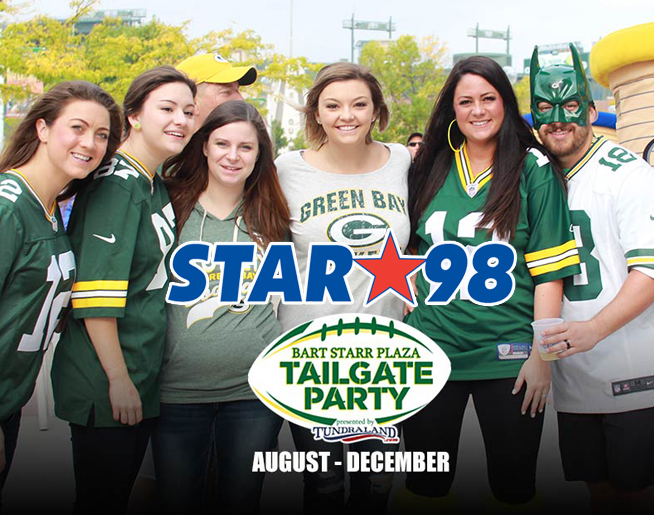 Bart Starr Plaza Tailgate Party with STAR 98 December 2nd at 8:30 AM!