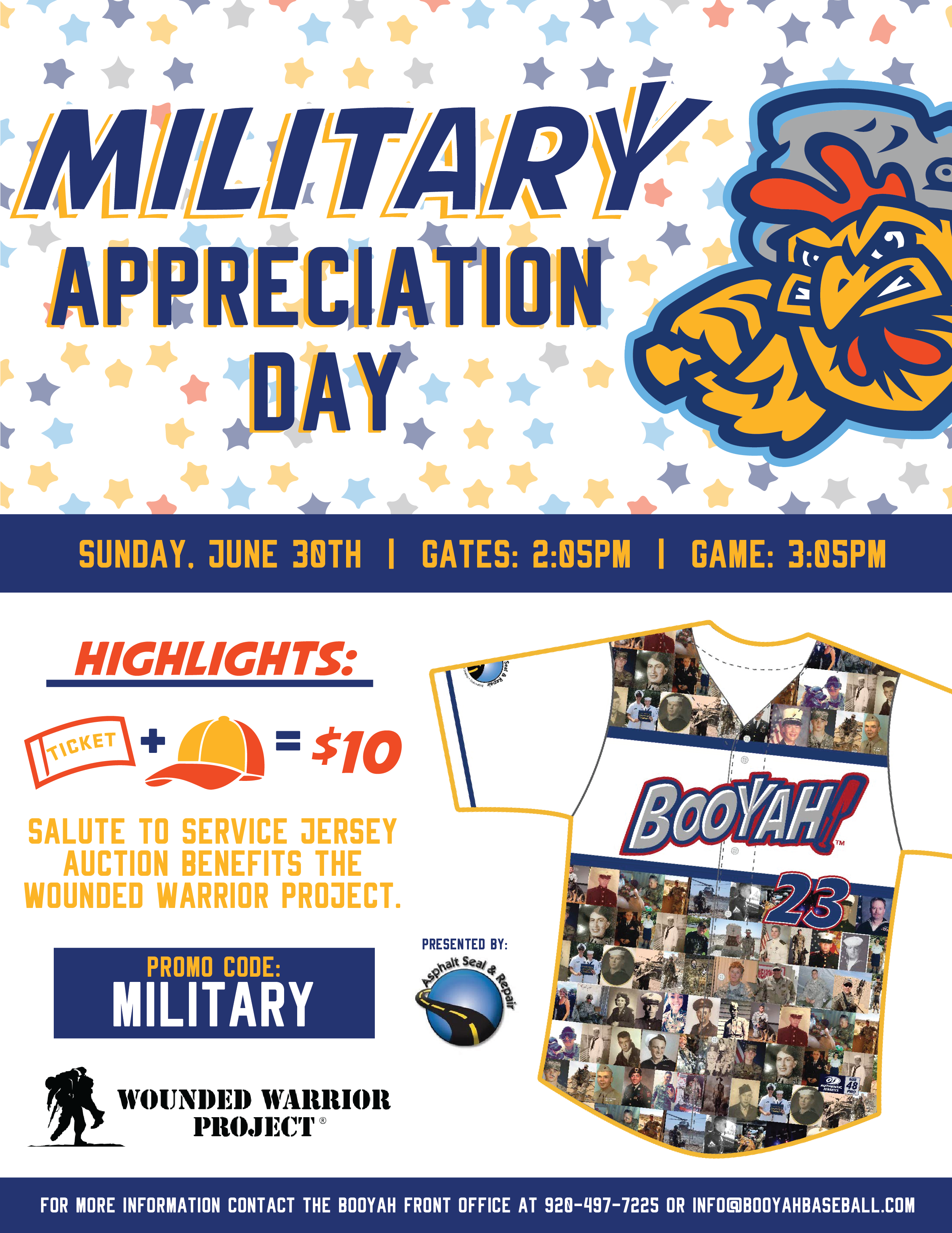 Star 98 and the Green Bay Booyah Salute all Military with a Super Cool offer Sunday!