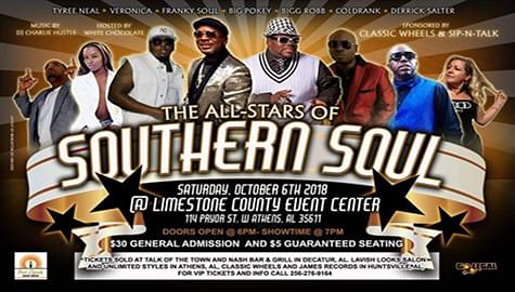 """Win Tickets To The """"All Stars Of Southern Soul"""" – Saturday, Oct. 6th!"""