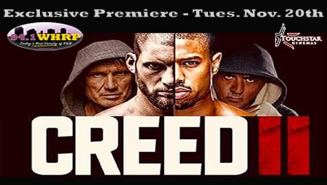 """Win Tickets To The 94.1 WHRP Premiere of """"Creed II"""" – Tuesday, Nov. 20th at Madison Square 12 Theaters!"""