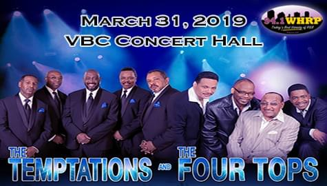 Win Tickets To See The Legendary Temptations And The Four Tops – March 31st At The VBC Concert Hall!