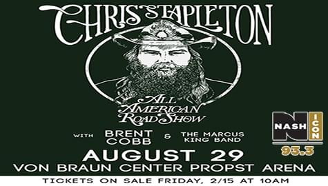 93.3 Nash Icon Has Your Tickets To Chris Stapleton – Aug. 29th At The VBC!
