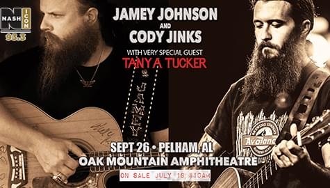 Jamey Johnson & Cody Jinks, w/ Special Guest Tanya Tucker – Sept. 26 At Oak Mountain!