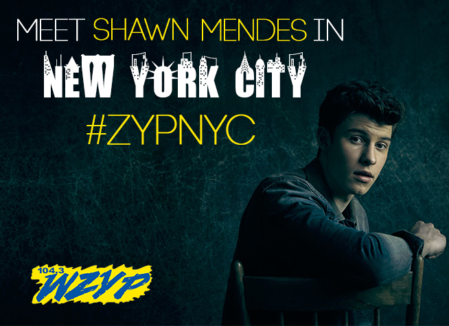 Meet shawn mendes in new york wzyp fm ever wanted to meet music superstar shawn mendes wellheres your chance to do both with zyp were sending 1 lucky local winner m4hsunfo