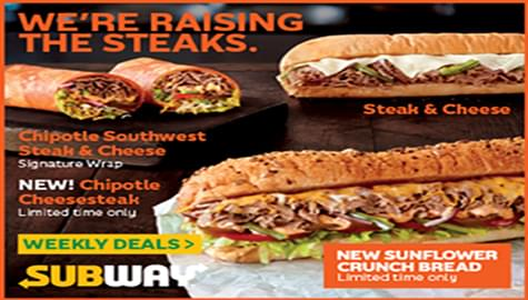 Win Subway® Gift Cards And Try The New Steak Collection!