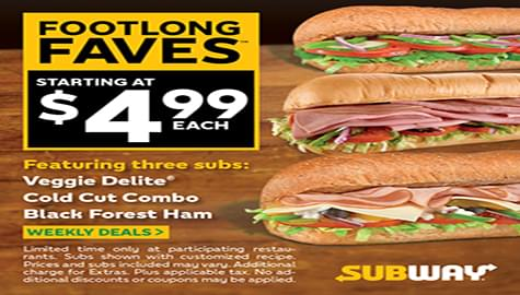 Win Subway®  Gift Cards And Try The Footlong Faves Lineup!