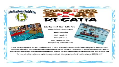 Madison Parks And Recreation Cardboard Regatta – Saturday, March 30th At Dublin Park Pool!