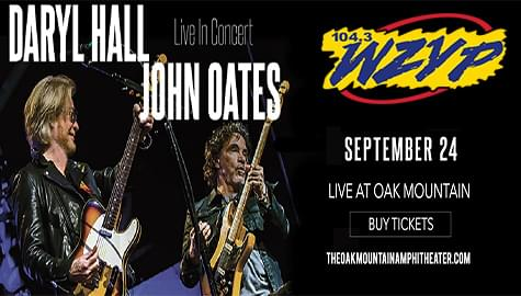 Win Tickets To Daryl Hall & John Oates – Sept. 24th At Oak Mountain!