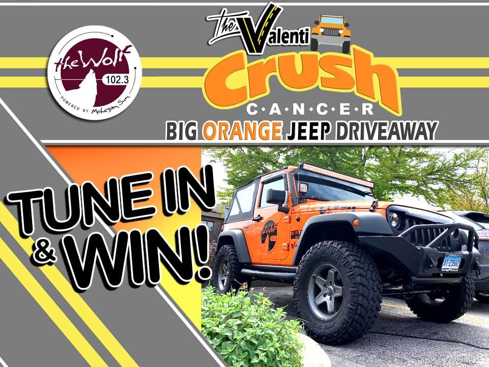 The Valenti Crush Cancer Big Orange Jeep Drive Away w/ 102.3 The Wolf