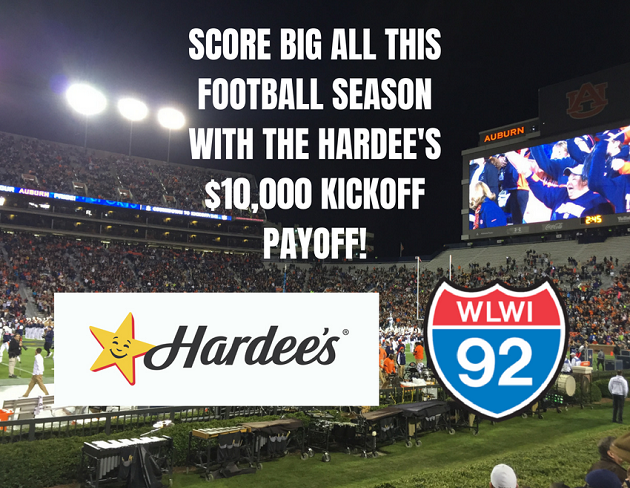 Play the Hardee's $10,000 Kickoff Payoff with I-92 WLWI
