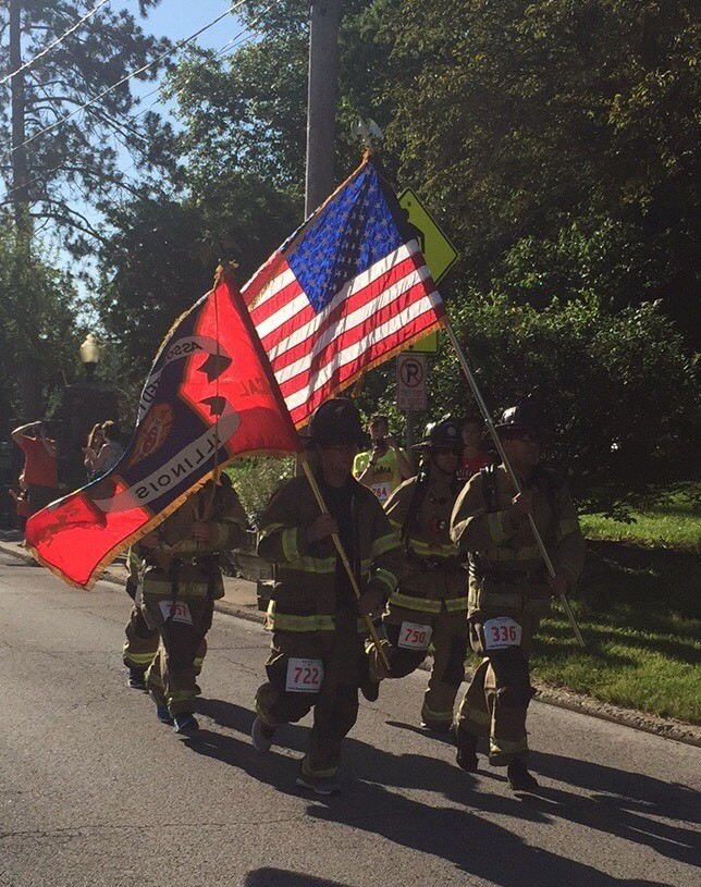 Firefighters in the Memorial Mile Glory Wave