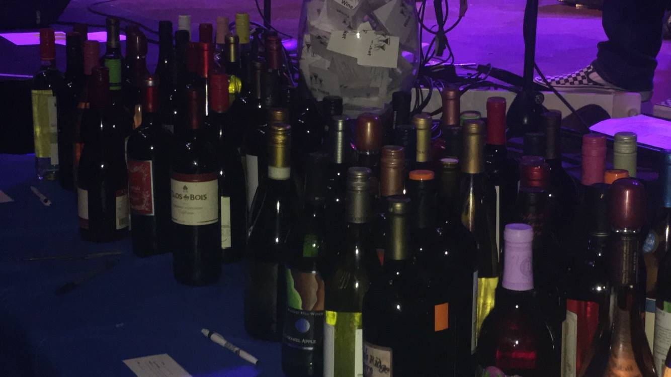 Some of the wine that was won by one lucky person.