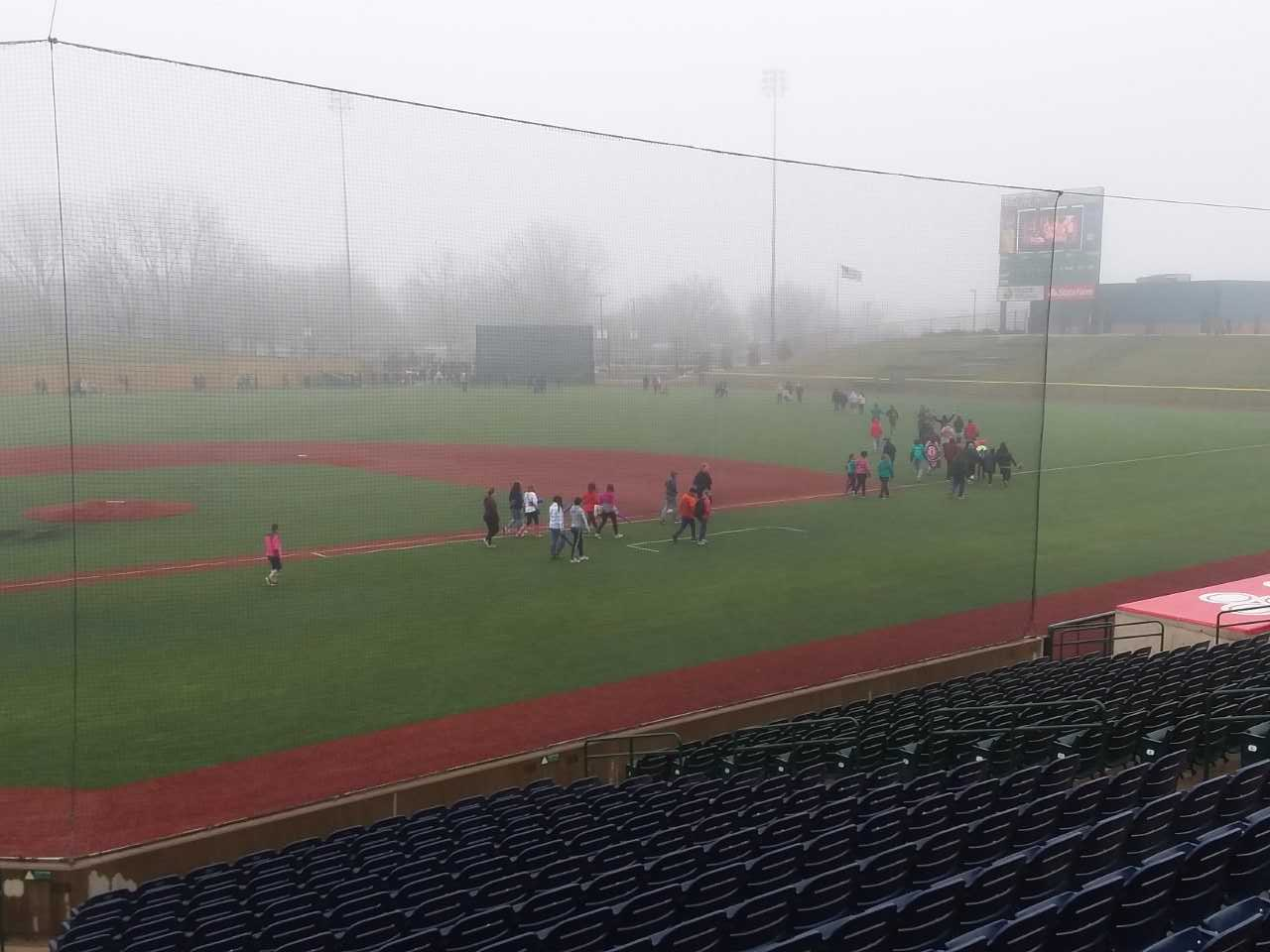 A cold and foggy day.  Still some wore short pants.  Kids.