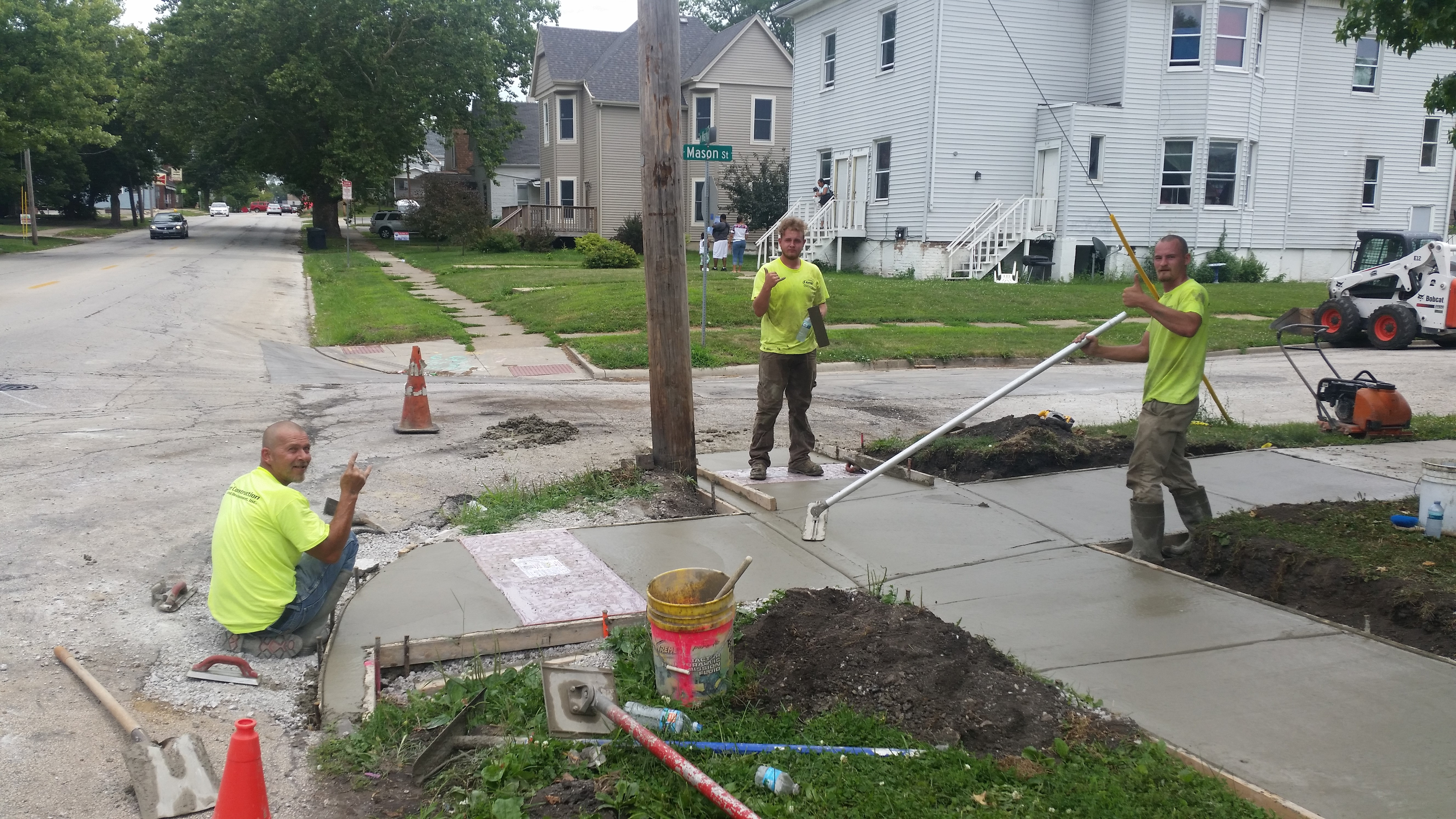 We made sure not step in the new concrete