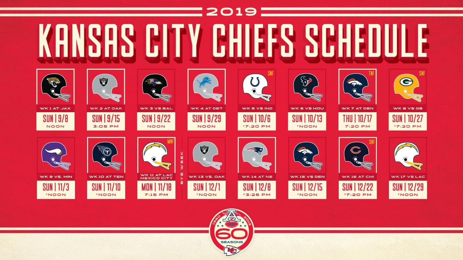 2019 Kc Chiefs Schedule 2019 Kansas City Chiefs Schedule | KCFX FM | 101 The Fox