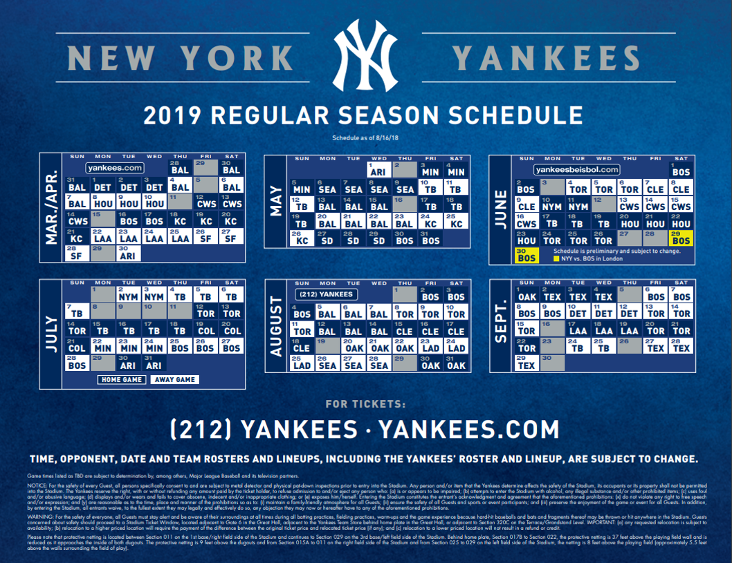 Ny Yankees 2019 Schedule New York Yankees Baseball on WICC600   WICC AM