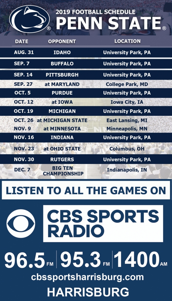 Penn State Football Schedule 2019 Penn State Football | CBS Sports Radio Harrisburg | WHGB AM